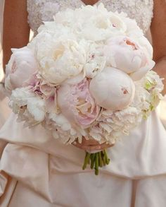 Bride Bouquet: Love the  clean look of ivory and white with mixture of soft pink