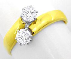 Foto 2, Damen-Ring, 2 Spitzen-Solitäre, 14K-Bicolor Luxus! Neu!, S8637