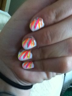 White base with multicolored strokes Diy Nails, Cute Nails, Blacklight Party, Sweet 16, Birthday Parties, Nail Designs, Projects To Try, Nail Art, Nail Ideas