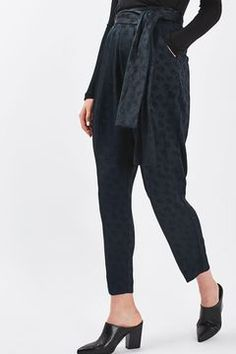 Jacquard Carrot Leg Trousers by Boutique