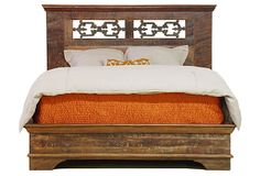 Langely Bed, California King  made of: reclaimed wood/ intricately designed iron gates