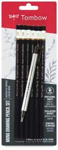 Tombow Mono Drawing Pencils ~ Set of 6 with Eraser