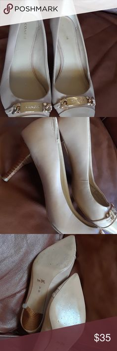 Coach Womens Bowery Leather Pointed Toe Pumps Nude color, Low heel, Gold coach Plaque, 100% Leather Coach Shoes Heels