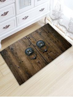 Anti-skid Retro Knocker Wood Door Print Floor Rug