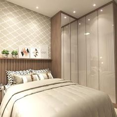 No photo description available. Wardrobe Design Bedroom, Bedroom Cupboard Designs, Bedroom Cupboards, Modern Bedroom Design, Small Room Bedroom, Small Rooms, Bedroom Wall, Flat Interior, Apartment Bedroom Decor