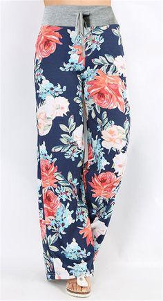 Floral Print High Waist Wide Leg Pants