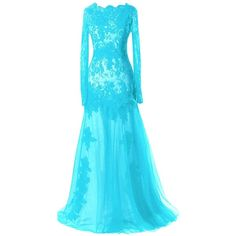 ModernBride Women Long Sleeve Lace Formal Prom Evening Dresses (3.475 CZK) ❤ liked on Polyvore featuring dresses, blue prom dresses, blue long sleeve dress, long sleeve lace dress, long sleeve lace cocktail dress and long sleeve formal dresses