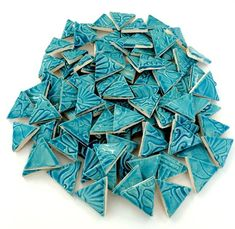 This listing is for 100 tiles. They are 1 in size. The ones pictured are an example of the tiles. These handmade porcelain/stoneware tiles are low fire (made for inside). Ceramic Mosaic Tile, Mosaic Wall Art, Mosaic Glass, Stained Glass, Unique Tile, Mosaic Madness, Handmade Tiles, Beading Supplies, Craft Items