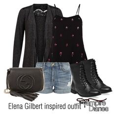 """Elena Gilbert inspired outfit/TVD"" by tvdsarahmichele ❤ liked on Polyvore featuring VILA, Monsoon, Current/Elliott, Wet Seal and Gucci"