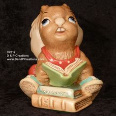 Pendelfin Rabbit Wordsworth (with books), Red Pants, in Box c 1992 $69.99