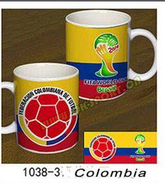 Colombia World Cup 2014 football team souvenirs coffee mug/ 8x9.5cm custom color ceramic mugs US $15.77