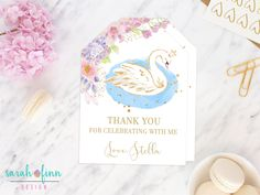 Swan Favor Tags, Swan Baby Shower Thank You Tags, Swan Princess Birthday Party, Printable, Favor Tags, Girl Baby Shower, First Birthday by SarahFinnDesign on Etsy