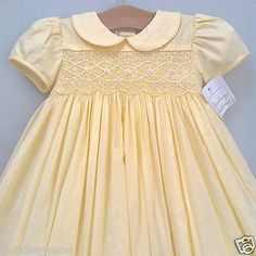 NWT-STRASBURG-Boutique-24-Months-2-2T-Classic-Hand-Smocked-Yellow-Lined-Dress