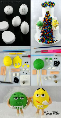 M&M cake tutorial.I would use rice cereal treats instead of styrofoam Fondant Toppers, Fondant Cakes, Cupcake Cakes, Cake Icing, Cake Topper Tutorial, Fondant Tutorial, Cake Decorating Techniques, Cake Decorating Tutorials, Decors Pate A Sucre