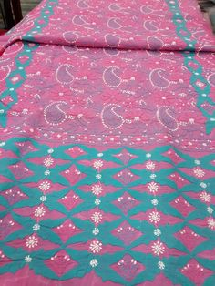 Lucknavi Chikan Pink Cotton Suit Length with fine applique work & contrast blue colour bottom with pure chiffon dupatta #lucknow #chikankari $64.5