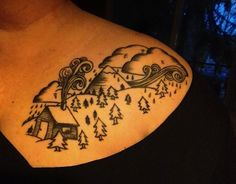 a cabin in the NW woods - by Alice Carrier at Anatomy Tattoo in Portland, Oregon