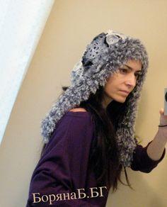 "Winter hood ""Snow Queen"" Woman Girl winter hat hood Snowflakes crochet knitting hood modern elegant hood Accessory"