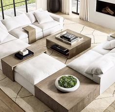 RH's Cloud Modular Square Coffee Table:We've taken the world's most comfortable sofa and designed a collection to pair perfectly with it – tables and consoles scaled to fit seamless Living Room Sofa, Living Room Interior, Home Living Room, Home Interior Design, Living Room Decor, Living Room Tables, Living Room Trends, Living Room Furniture, Restoration Hardware Living Room