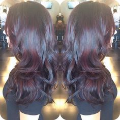 Balayage'd her dark brown base color with a GORGEOUS reddd brown tone