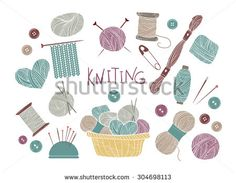 Hand drawn vector vintage illustration - Set of knitting and crafts. Yarn, pins, buttons, thread, needle bar and knitting needles  - stock vector