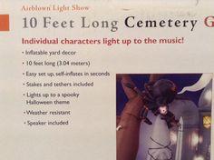 Gemmy 10 ft Halloween Cemetary Gateway Scene Animated Lights Music Inflatable | eBay