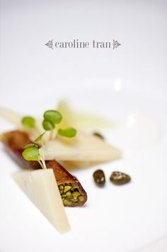 """Idiazabal"" – basically a baklava with green apples, Sicilian pistachio, white honey & watercress - The French Laundry."