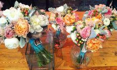coral blue wedding bouquet  peonies garden roses succulents