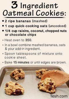 3 ingredient healthy oatmeal cookies!!