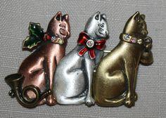 3 Christmas Cats Pin Brooch Signed KC Bronze Silver Gold Horn Rhinestone Bell | eBay