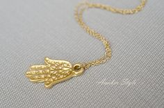 Gold Hand of Fatima Necklace hamsa