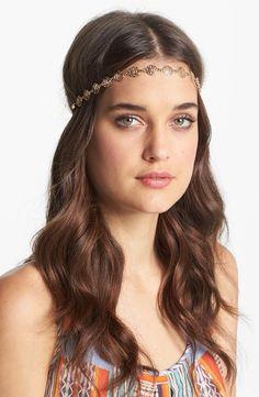 Boho headband & loose curls.