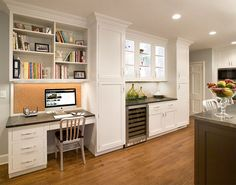 New Kitchen Home Office Ideas Collections is looks like a right design ideas for decorating the Kitchen office room in 2015 Kitchen Office Nook, Kitchen Desk Areas, Kitchen Desks, Small Space Kitchen, Kitchen Redo, Kitchen Remodel, Small Spaces, Kitchen White, Kitchen New York