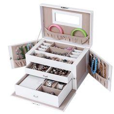 Songmics Noël Prsenter Boîte à bijoux Mallette/ coffrets/ boîte à maquillage, bijoux et cosmétique beauty Case JBC121W - Instant Crush