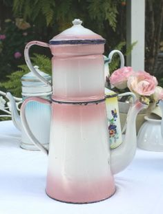 Large Antique 19th Century French Enamelware Pink Cafetiere Big  found in Veselles, France, from the late 1800