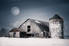 Barn and winter moon - 8x12 signed photography print of old rustic barn in snowy field with cold winter moon in dark sky. $39.00, via Etsy.
