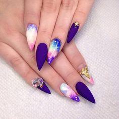 Galaxy Stiletto Nail Design.