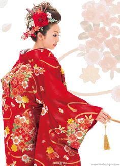 Scena D'uno wasou bridal kimono (着物) collection -- a fiery red coat with sakura, peonies chrysanthemums and gold tassles.