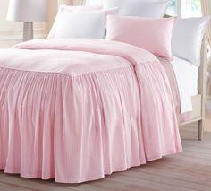 Seersucker Striped Gathered Bedspread