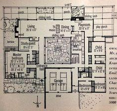 17 Ideas house plans modern luxury mid century for 2019 Garden Design Layout Modern, Layout Design, Modern House Design, Home Design, Patio Design, Design Ideas, Vintage House Plans, New House Plans, House Floor Plans