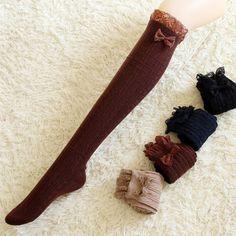 "Winter bud silk bowknot stockings SE9301   Coupon code ""cutekawaii"" for 10% off"