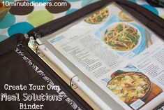 When the 5:00 oclock dinner hour hits and I have no idea what to make, this has saved me every time!! Meal solutions binder