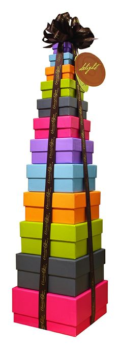 Choclatique's Tower of Delight... over 2 feet tall and filled with over 100 hand-crafted chocolate truffles.
