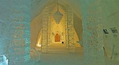 Augustus Collection Feature Recap: Crazy Hotels.  Hôtel de Glace, Canada.  Jacques Desbois, an ice sculptor stayed overnight at the first ice hotel in Sweden and was inspired to create Canada's own ice hotel.  Made entirely of ice and snow, this unique one-story structure has been rebuilt each year since 2000.