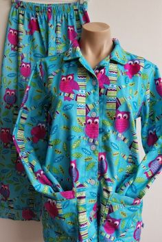 8438607e03 Nick   Nora Pajama Size jr s XL 14 16 Flannel Owls Pajama Set Top and Pants