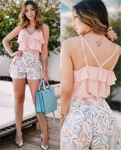 Girly Look Ruffle Top With Floral Shorts Short Outfits, Chic Outfits, Spring Outfits, Trendy Outfits, Short Dresses, Vetements Shoes, Look Fashion, Womens Fashion, Mein Style