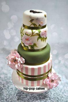 Handpainted Peony Rose Cake