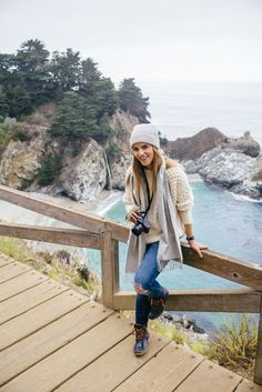 Lovely  How to put together a cute hiking outfit. Pair ripped jeans with duck boots, a c...