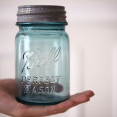 画像3: アンティーク メイソンジャー Ball Mason jar  ビンテージ Pint(パイント) Zinc蓋つき ブルー