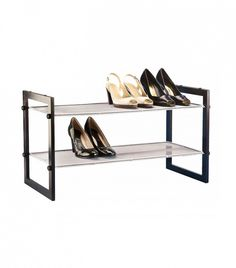 The Container Store Walnut 2-Tier Stackable Mesh Shoe Shelf  for the ultimate closet organization