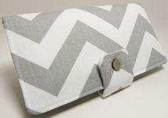 a safe, delightful choice. Handmade Long Wallet   Chevron Zig Zag gray. $35.00, via Etsy.